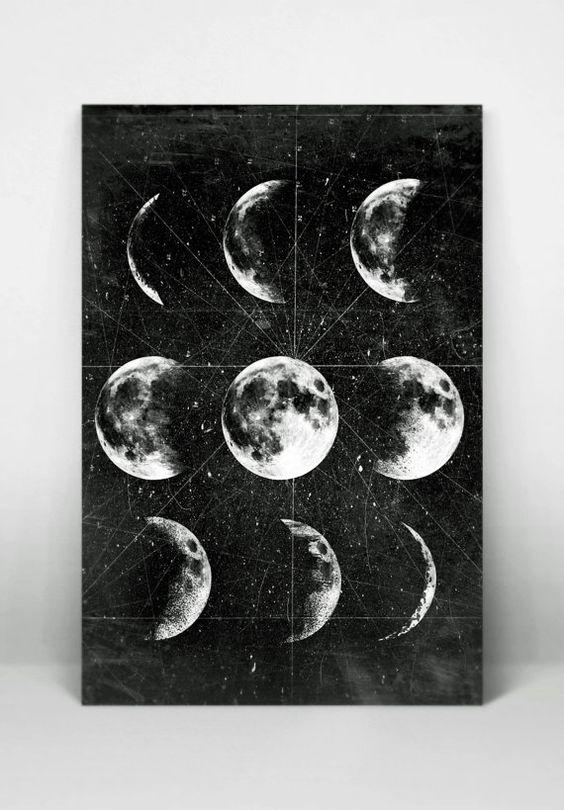 Luna luna llena Luna cartelismo con fases de por 8RedFishCreative: