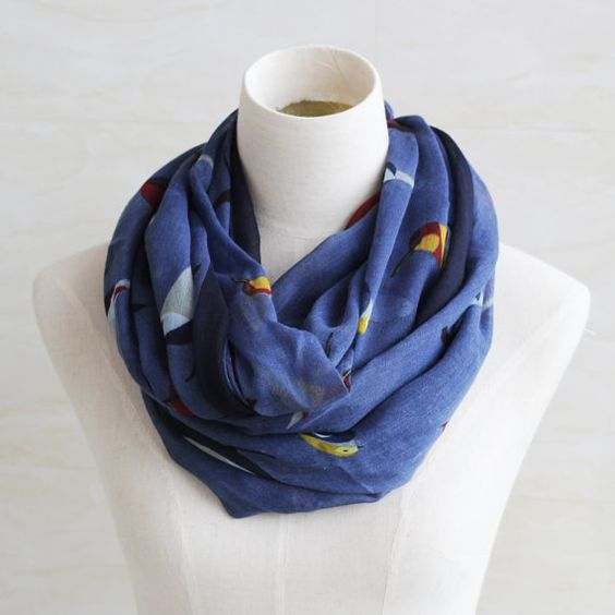 Navy blue vivid birds scarf soft cotton by blackbeanblackbean, $9.99
