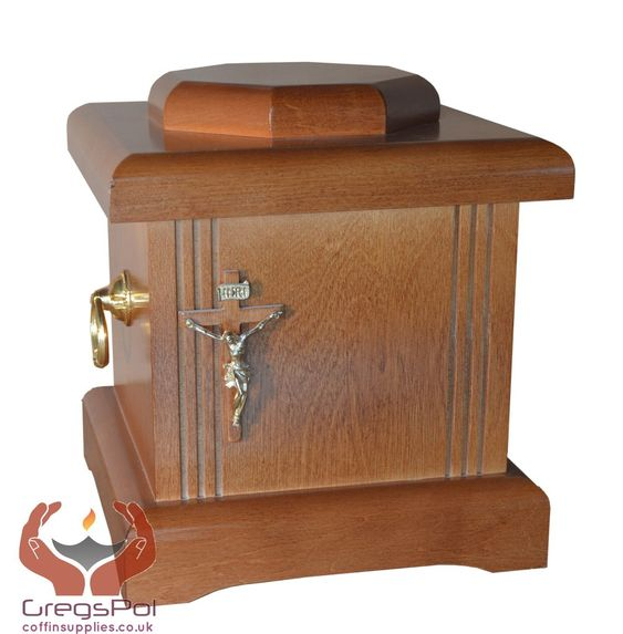 BEAUTIFUL SOLID WOOD CASKET WITH CROSS AND HANDLES FUNERAL ASHES URN FOR…