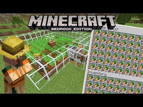 Automatic Carrot Farm Minecraft Bedrock 1 16 2000 Carrots Per Hour Working July 2020 Youtube Minecraft Farm Minecraft Minecraft Tutorial