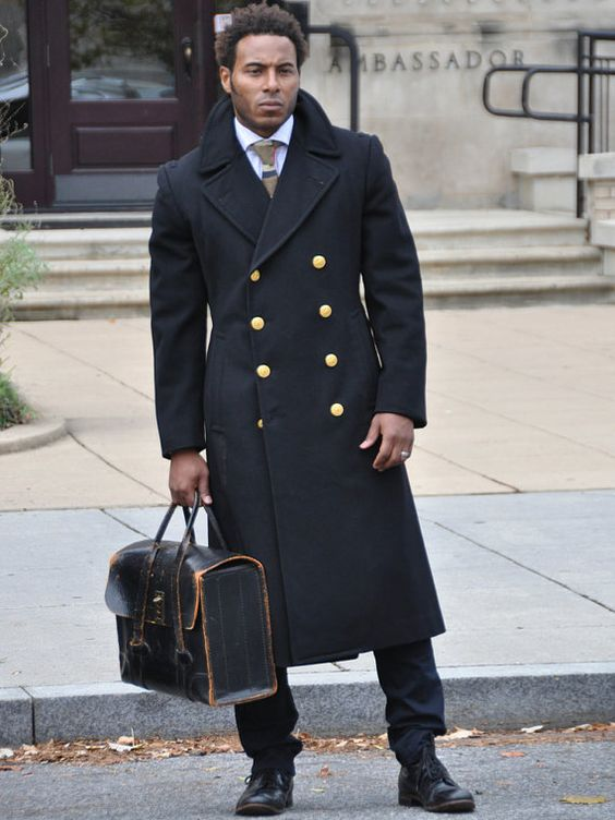 Reserved for Nina - Long Authentic Navy Pea Coat with Gold Buttons