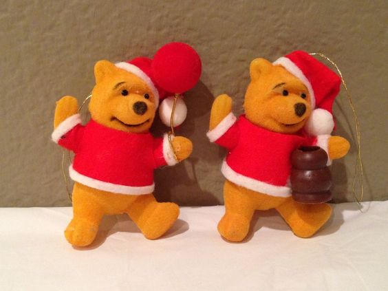 Vintage Winnie The Pooh Christmas Ornament (2) Honey & Balloon