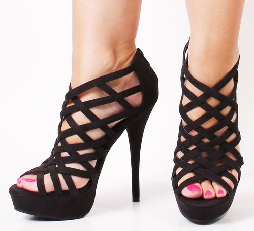 Sexy 6.5 Inch Women&39s Evening Shoes Black High Heel Shoes With
