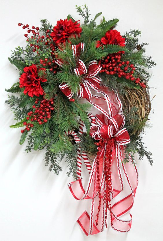 Sweet Candy Canes Country Christmas Wreath Free by FloralsFromHome, $163.00