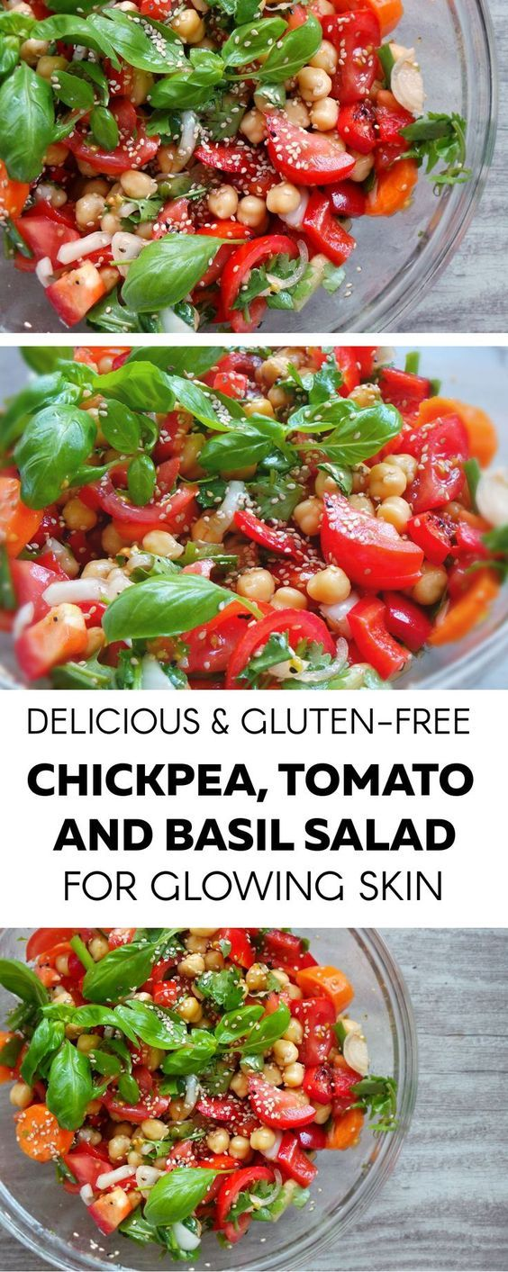 Healthy Summer Tomatoes Basil And Chickpea Salad - Vegan And Gluten Free