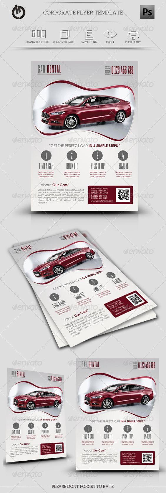 Car Rental Flyer Template  Graphicriver Car Rental Flyer