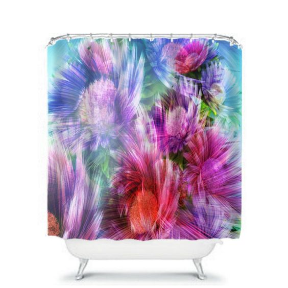 Shower Curtain Floral Painted Daisy Abstract by FolkandFunky