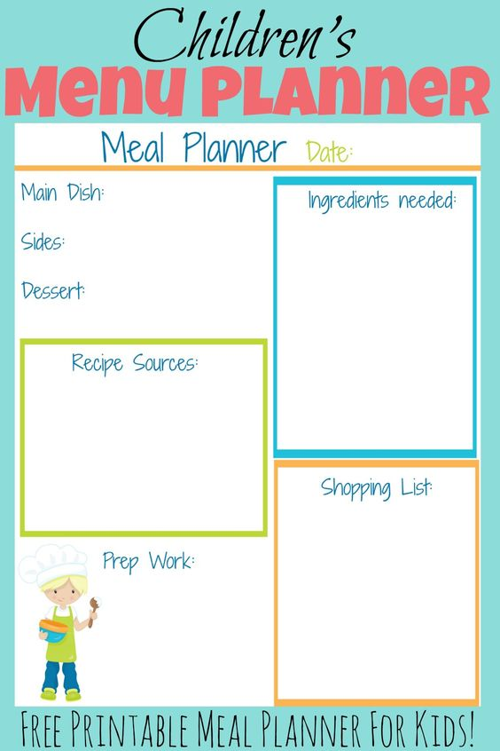 This free printable kid's meal planner will help your child to easily plan out a meal for your family. This is a great recourse to use when teaching kids how to cook!