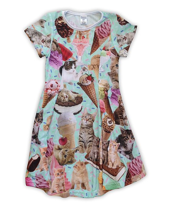 Love this Pink & Gray Kittens & Ice Cream Swing Dress - Toddler & Girls by Urban Smalls on #zulily! #zulilyfinds