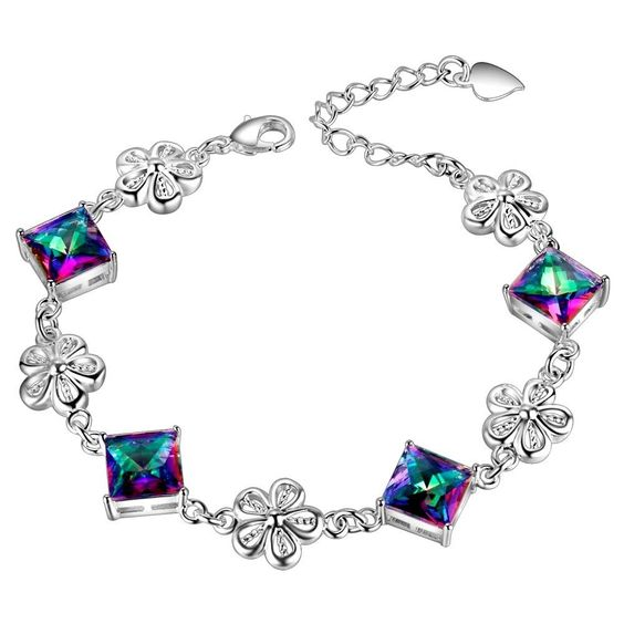 Rainbow Mystic Topaz Square Cut In Silver Plated Bracelet | eBay