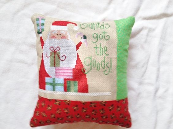 Lizzie Kate  Christmas Cross Stitch Pillow  by homecrafting, $16.50