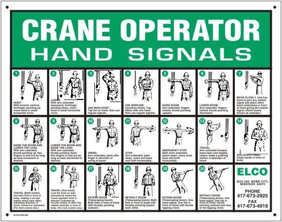 Tower Crane Signals : Crane operator hand signals heavy equipment