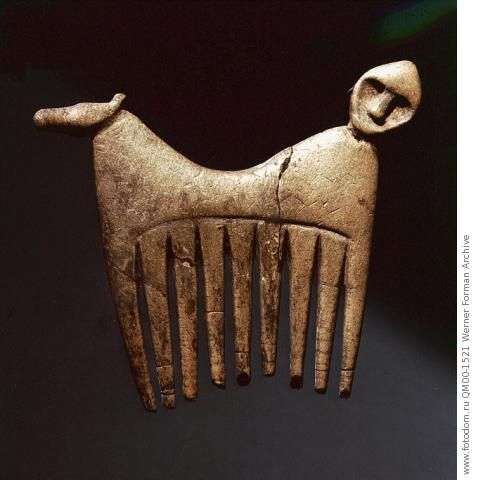 Comb decorated with a human and animal head. Country of Origin: Sweden. Culture: Pre-Viking. Credit Line: Werner Forman Archive/ Statens Historiska Museum, Stockholm . Location: 18.