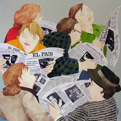 Pessoas lendo jornais: