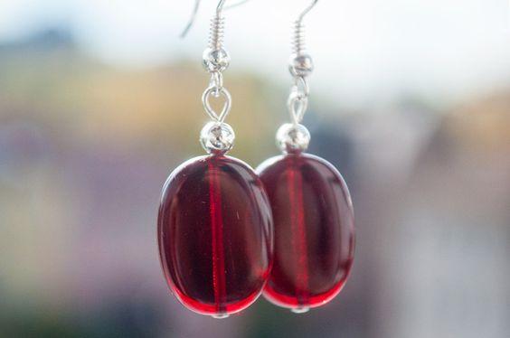 """Ohrringe """"Rotwein-Bonbon"""" von Granatapfel - Onlineshop mit Illustriertem. auf DaWanda.com"""