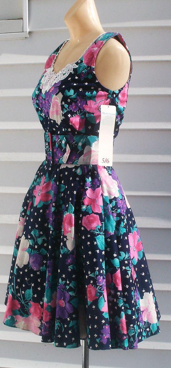 Vintage 1950s Style NOS Cotton Mini Sundress Dress XS by Flashbax, $40.00