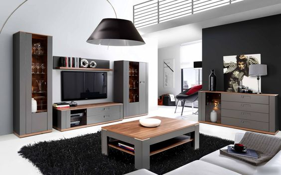 wohnzimmer-set grau und sangallo eiche woody 77-00754 mdf modern, Wohnzimmer dekoo