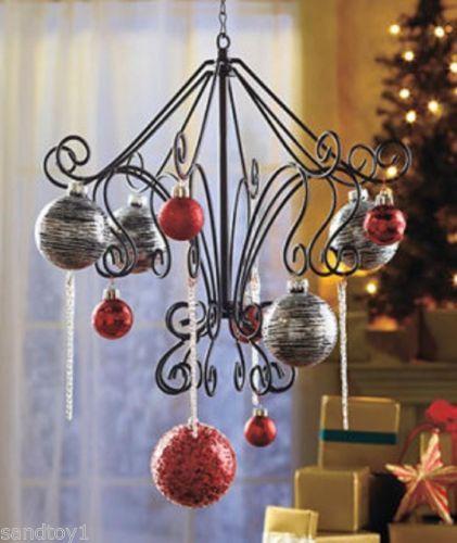 Black metal scroll hanging ornament tree display quot w