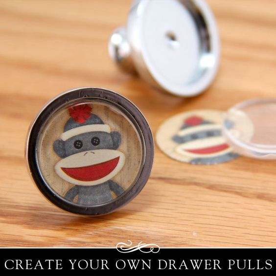 Easy to make DIY Drawer Pull Kit. Silver Drawer or Cabinet Knob with Clear Glass Insert. Annie Howes.