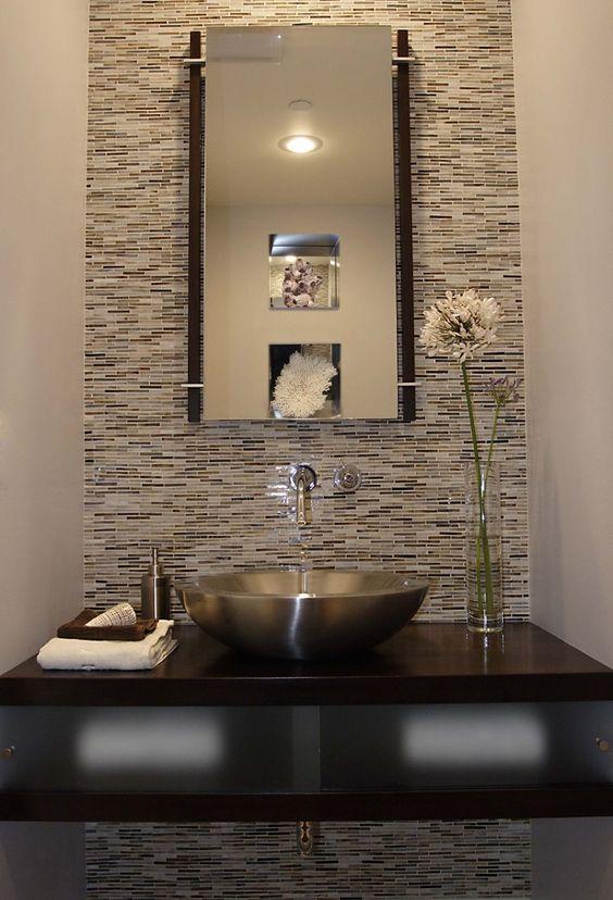 Basin sink powder and vanities on pinterest - Modern powder room vanity ...