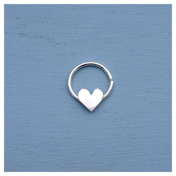 love heart septum ring solid sterling silver piercing. Black Bedroom Furniture Sets. Home Design Ideas