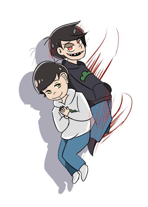 Godmatsu and Devilmatsu     Osomatsu-san 1x21 Fan Art by sprayingpaints on Tumblr