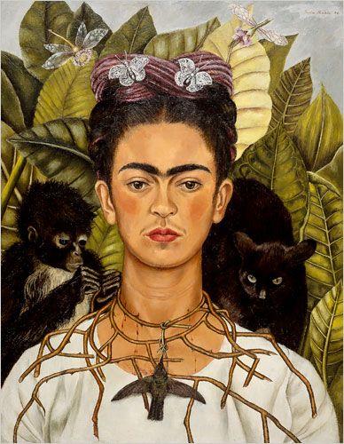 Frida Kahlo-Autoportrait au collier d'épines(chat noir), 1940