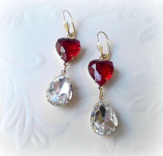 Ruby Red Long Dangle Heart Earrings
