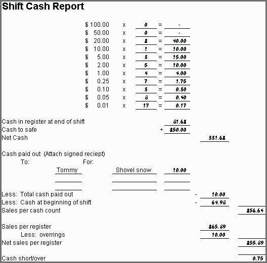 Cash Drawer Count Sheet Balance Sheet Template Payroll Template Cash Register