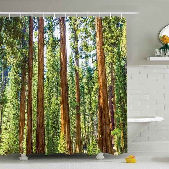 National Parks Home Branches Spring Conifers Sequoia Shower Curtain Set Shower Curtain Sets Park Homes Tree Shower Curtains