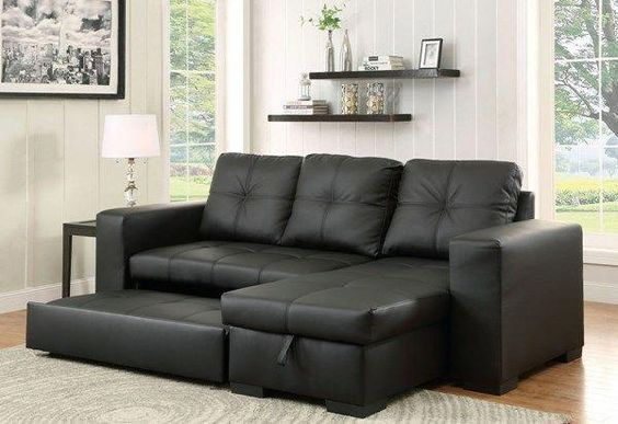 Denton Transitional Black Leatherette Sectional Modernlivingroomfurniturecouch Sectional Sofa Sofas For Small Spaces Small Space Living Room