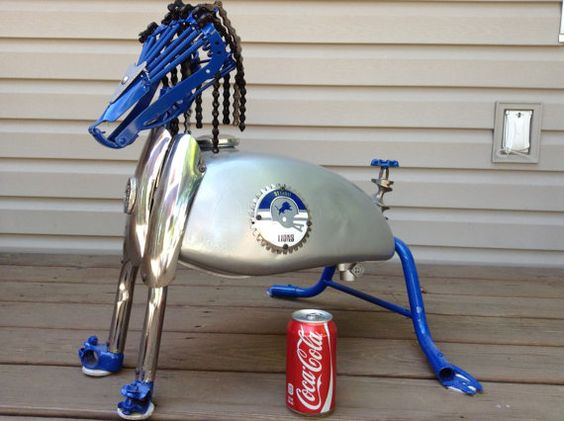 "Detroit Lions Mascot ""Rory""  made of a 100% Recycled Metals from Motorcycles & Bicycles with a meat grinder tail."