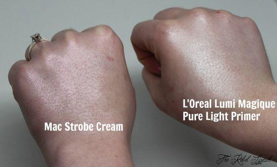 Dupe or Poop: Mac Strobe Cream versus L'Oreal Lumi Magique Pure Light Primer  Full comparison on http://therebellipstick.com