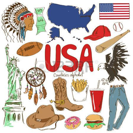 Fun colorful sketch collection of USA icons, countries ...
