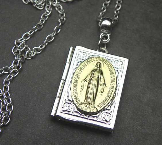 Gold Miraculous Medal Vintage French Holy Medal by 12StarsVintage