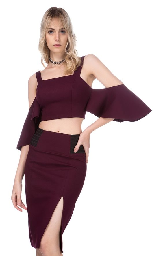 BLUSA CROPPED MALHA POWER - LI-BORDO / G