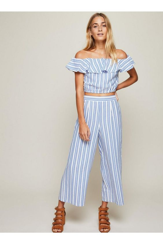 Blue Striped Crop Wide Leg Trousers - Trousers - Clothing - Miss Selfridge