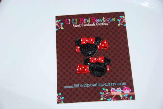 SET OF 5 Pairs of Minnie Mouse Hair Clips / by lilibirdbowtique, $35.00