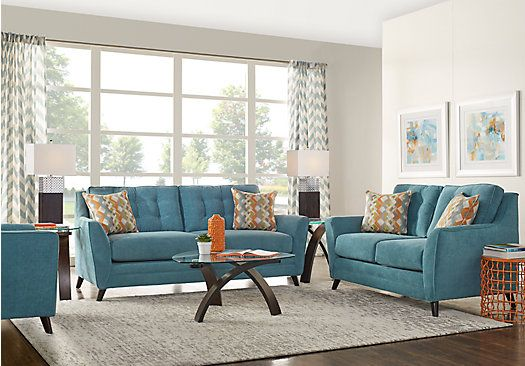 Picture Of Parkview Teal 7 Pc Living Room From Living Room Sets Furniture Blue Couch Living Room Turquoise Living Room Decor Living Room Sets