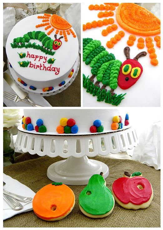 Hungry Caterpillar Buttercream Birthday Cake and Cookies