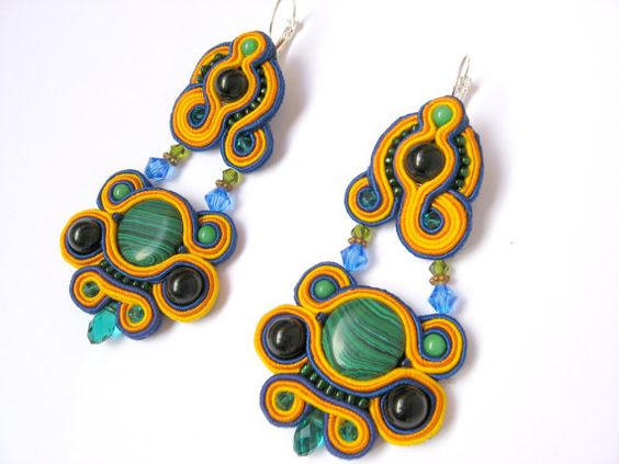 Embroidered soutache earrings.Bead by NastyaUsevichDesigns on Etsy