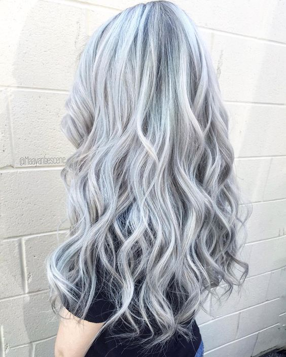 Long silver hair color