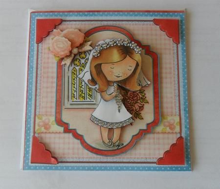 FIRST HOLY COMMUNION Girl Topper Decoupage on Craftsuprint designed by Janet Briggs - made by Jacqueline Bunnett