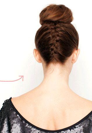 Braid + ballerina bun = great idea to show off the highlights under my layered hair!