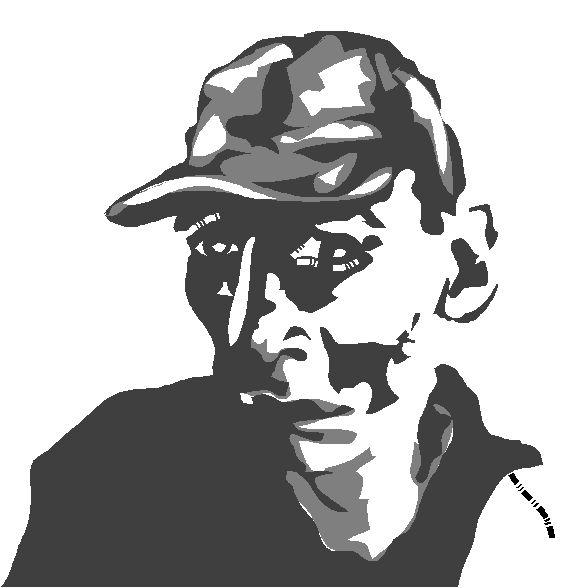 Self portrait created on a mac II using Illustrator 88, circa 1994.