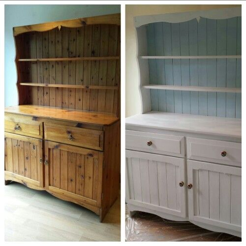 Before and after welsh dresser using chalk paint home for Painting with a twist cedar hill tx