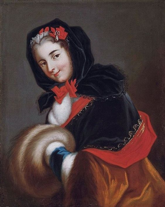 Another cozy 18th c. Lady - velvet hood and matching capelet, fur muff and one of the coolest (warmest) 18th century accessories - muffetees! Muffetees were velvet or silk gauntlets trimmed with fur and worn like mitts on the forearms. Adorable!    Louis Henirette de Bourbon, Duchess de Chartres and d'Orleans