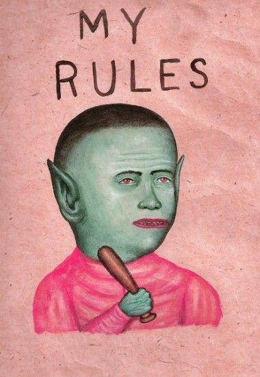 "MY RULES, Acrylic on Thai Banana Paper, 12 x 9"""