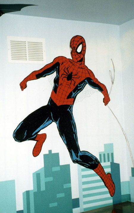 """The Super Heroes: Spider-Man Detail   72"""" x 72""""    Location: Private residence"""
