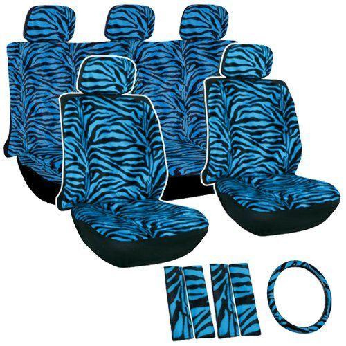 Oxgord Zebra Tiger Stripe Seat Cover Set For Car Truck Van